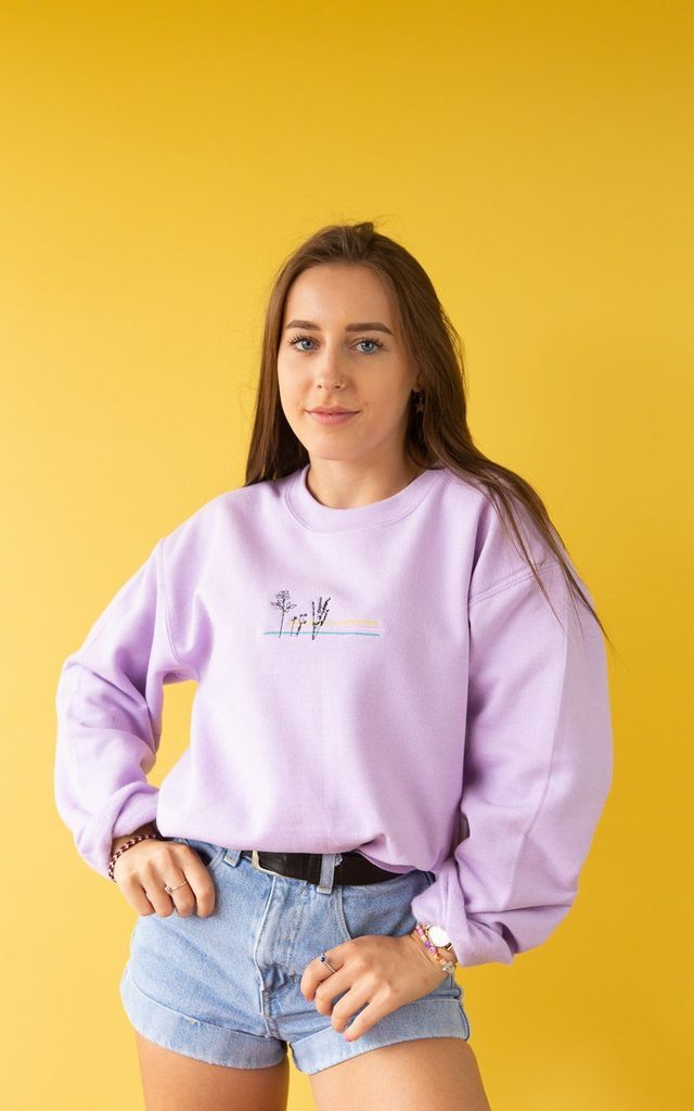 Lilac embroidered sweatshirt with floral colour block by Emma Warren