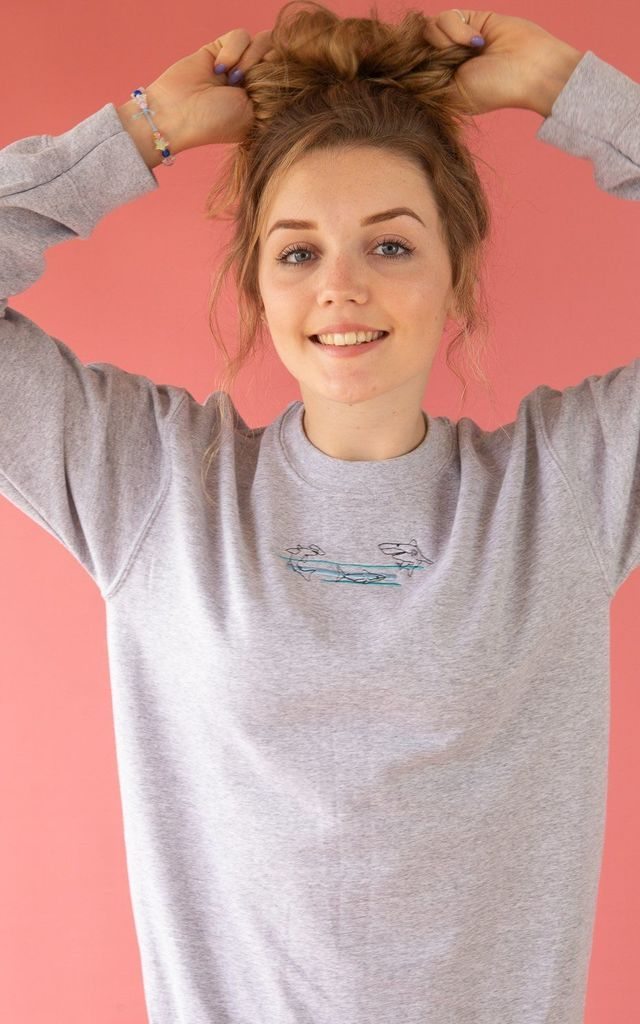 Grey embroidered sweatshirt with colour block shark by Emma Warren