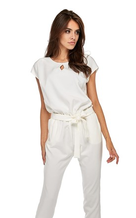 Lightweight Short Sleeve Jumpsuit In White by By Ooh La La Product photo