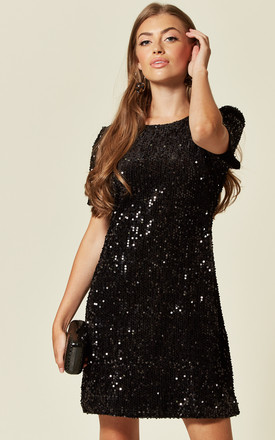 Sequin Tunic Mini Dress In Black by Mela London Product photo