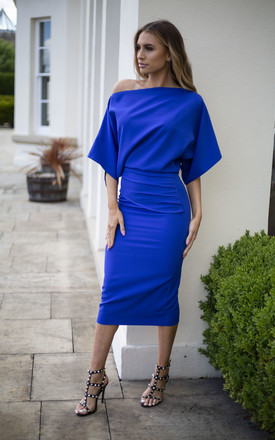 Blue Esme Off Shoulder Ruched Bodycon Dress by Rag & Doll Product photo