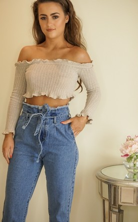 Beige Knitted Bardot Crop Top by Styled Clothing Product photo