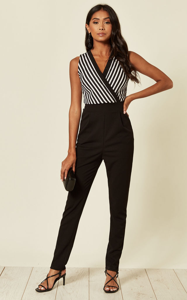 Tilula V Neck Stripe Black and White Jumpsuit by WalG
