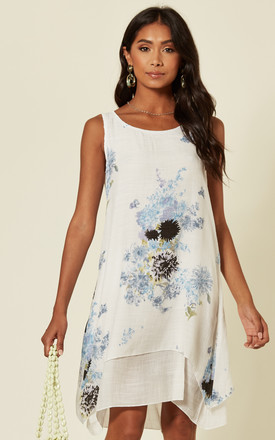 Sleeveless Shift Dress In Blue Watercolour Floral by D.Anna Product photo