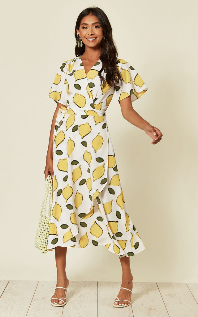 Lemon print wrap midi dress by D.Anna
