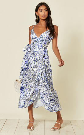 Naomi Frill Wrap Midi Dress In Blue & White Leopard by D.Anna Product photo