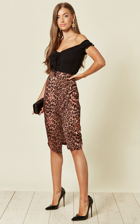 Jungle Leopard Print Wrap Skirt in Pink by Traffic People
