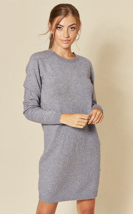 Long Sleeve Knitted Dress In Steel Grey by JDY Product photo