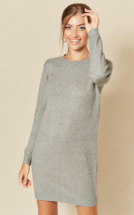 Long Sleeve Knitted Dress In Mid Grey by JDY Product photo