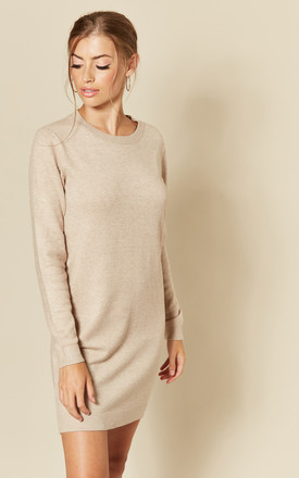 Long Sleeve Knitted Dress in Beige by JDY