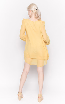 Long Sleeve Top with Bows on Cuffs in Yellow by CY Boutique