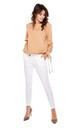 White Straight Leg Trousers with Drawstring by By Ooh La La