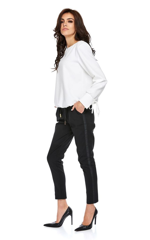 Black Straight Leg Trousers with Drawstring by By Ooh La La