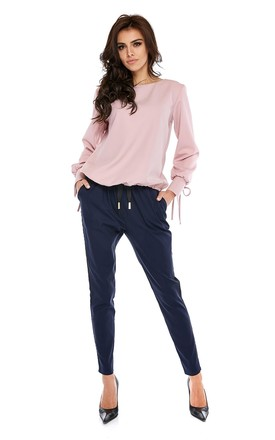 Navy Straight Leg Trousers With Drawstring by By Ooh La La Product photo