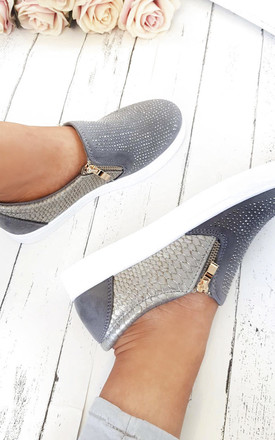 Leah Slip On Embellished Trainers in Grey by IKRUSH