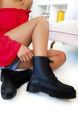 Cherie Lace Up Biker Boots in Black by IKRUSH