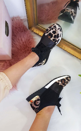 Roxy Faux Suede Embellished Trainers in Leopard Print by IKRUSH