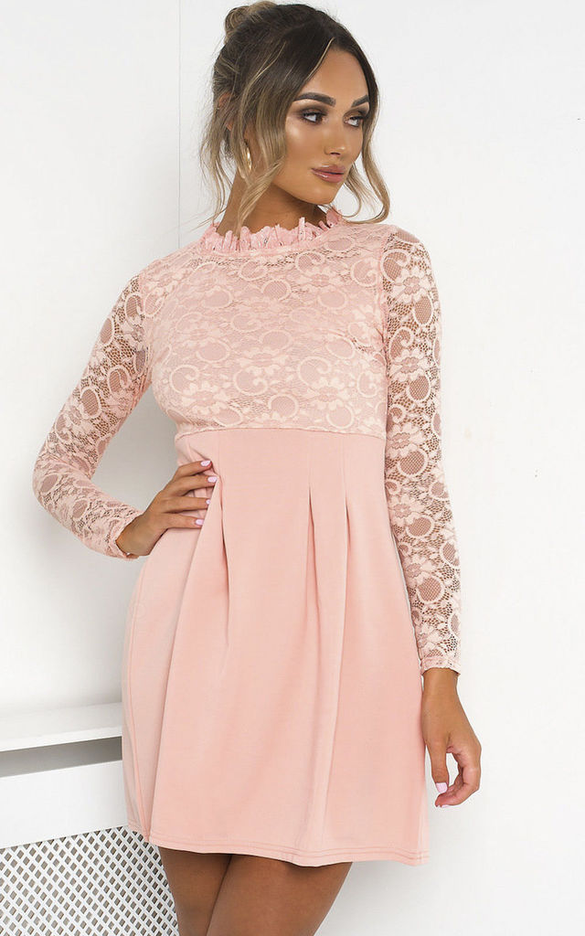Robyn Lace Mini Skater Dress in Pink by IKRUSH