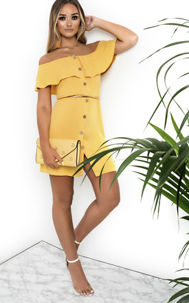 Vivi Off Shoulder Button Up Mini Dress in Yellow by IKRUSH