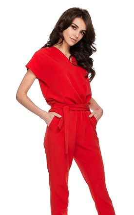 Wrap Front Jumpsuit With Short Sleeves In Red by By Ooh La La Product photo