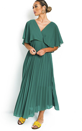 Michaela Pleated Maxi Dress in Green by IKRUSH