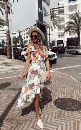 Strappy Cold Shoulder Frill Wrap Midi Dress With Floral & Bird Print In Cream, Pink & Orange by One Nation Clothing Product photo