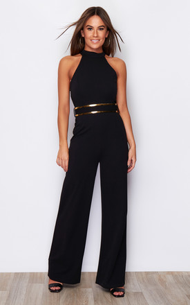 Belle High Neck Wide Leg Jumpsuit With Belt Black by Girl In Mind Product photo