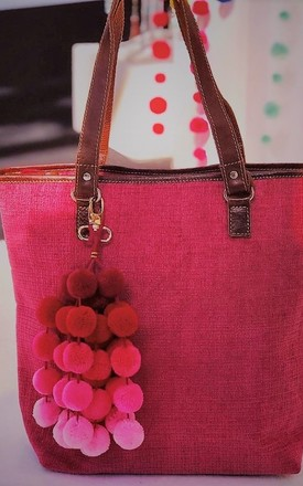 Pink tapestry with leather trims tote bag by hydestyle london