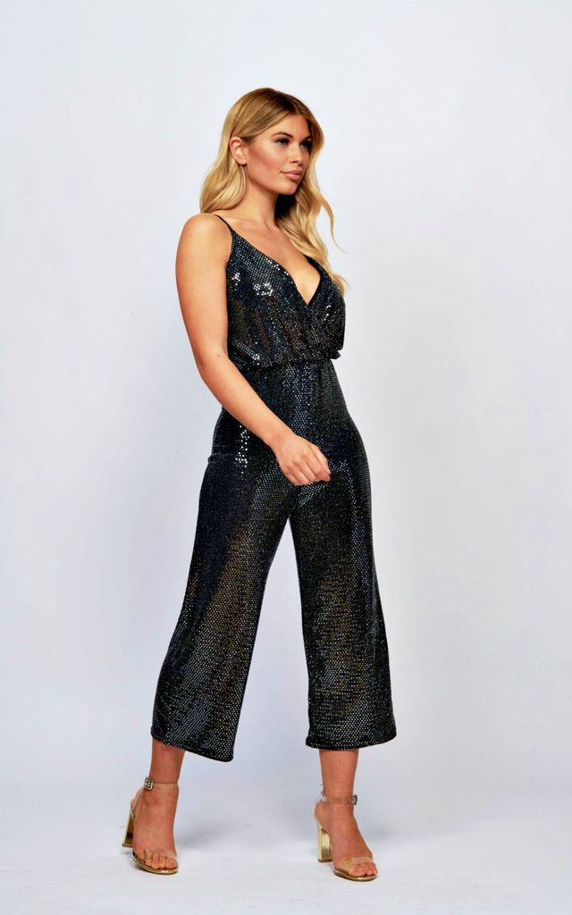 Black Sequin Culotte Jumpsuit by Mimi Clothing