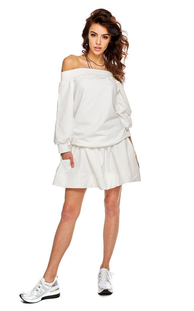 Flared Mini Skirt with Pockets in White by By Ooh La La