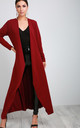Long Sleeve Waterfall Maxi Jacket in Wine by Oops Fashion