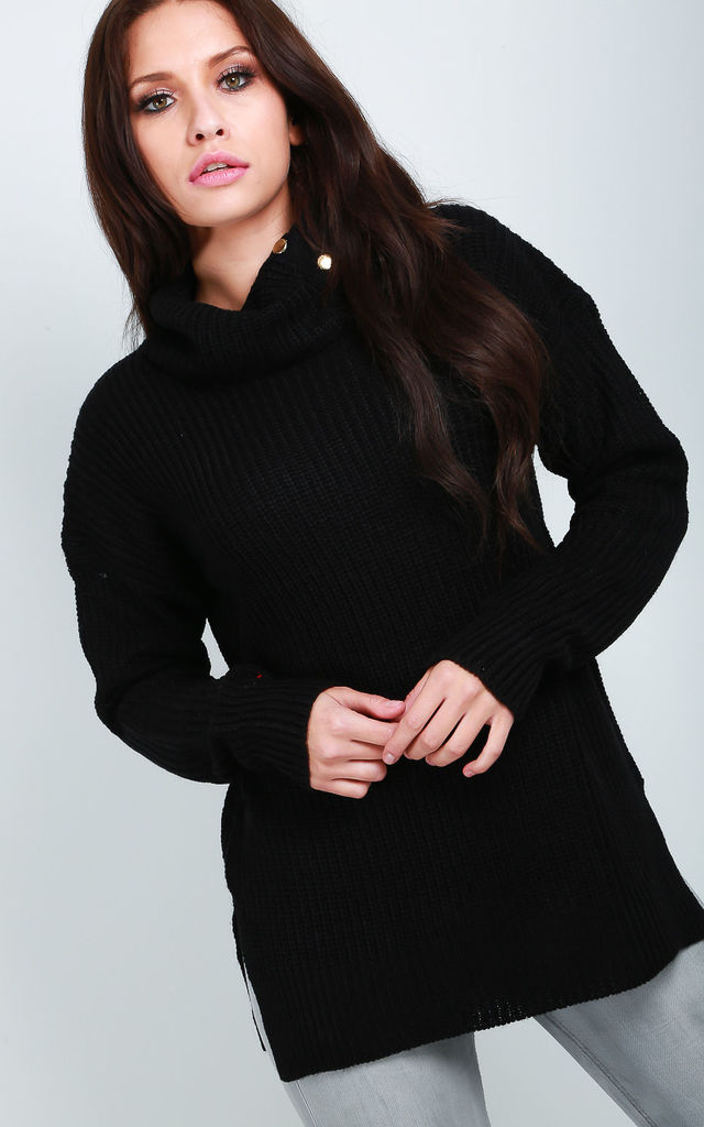 High Neck Chunky Knit Baggy Jumper in Black by Oops Fashion