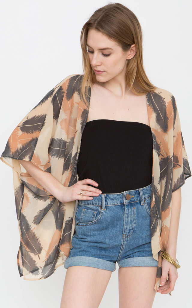 Floaty Kimono Coverup in Feathers Print by likemary