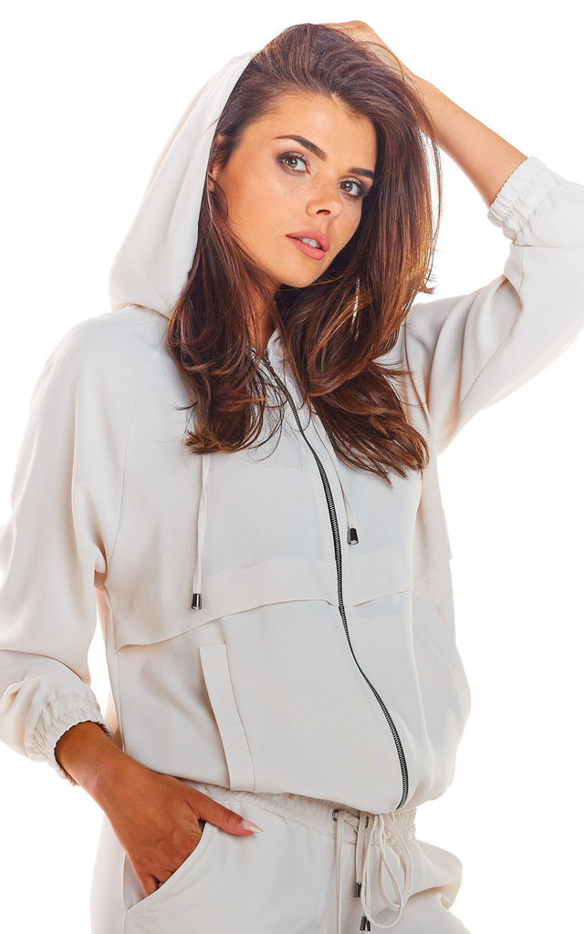 Oversized Hoodie with Zip in Beige by AWAMA