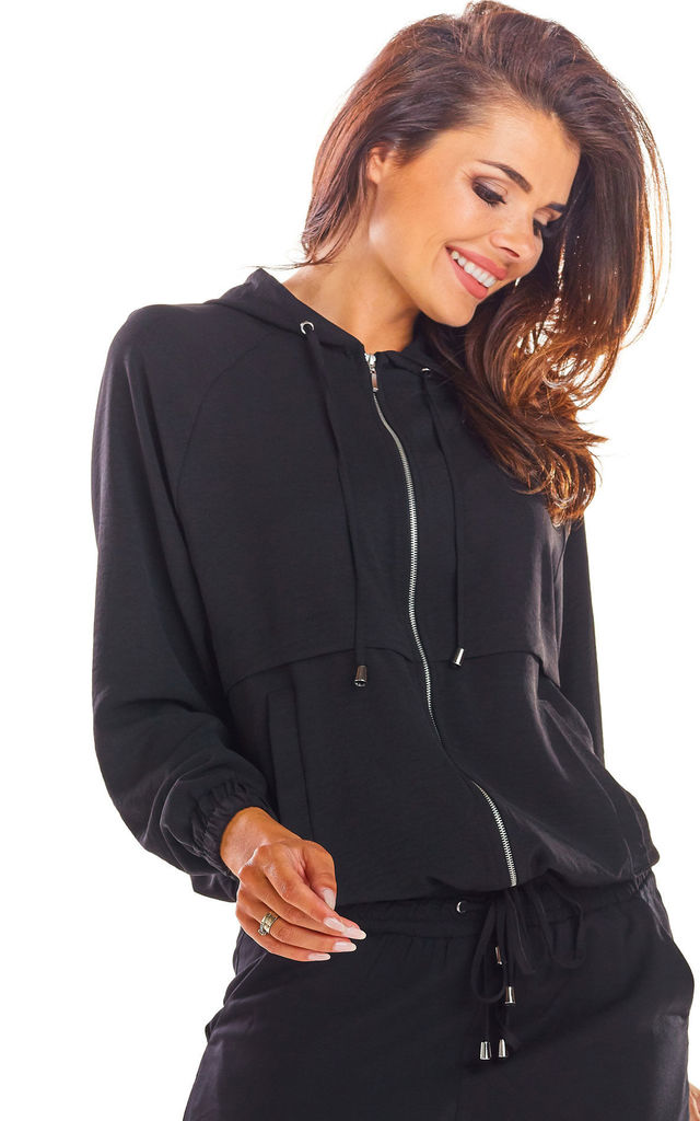 Oversized Hoodie with Zip in Black by AWAMA