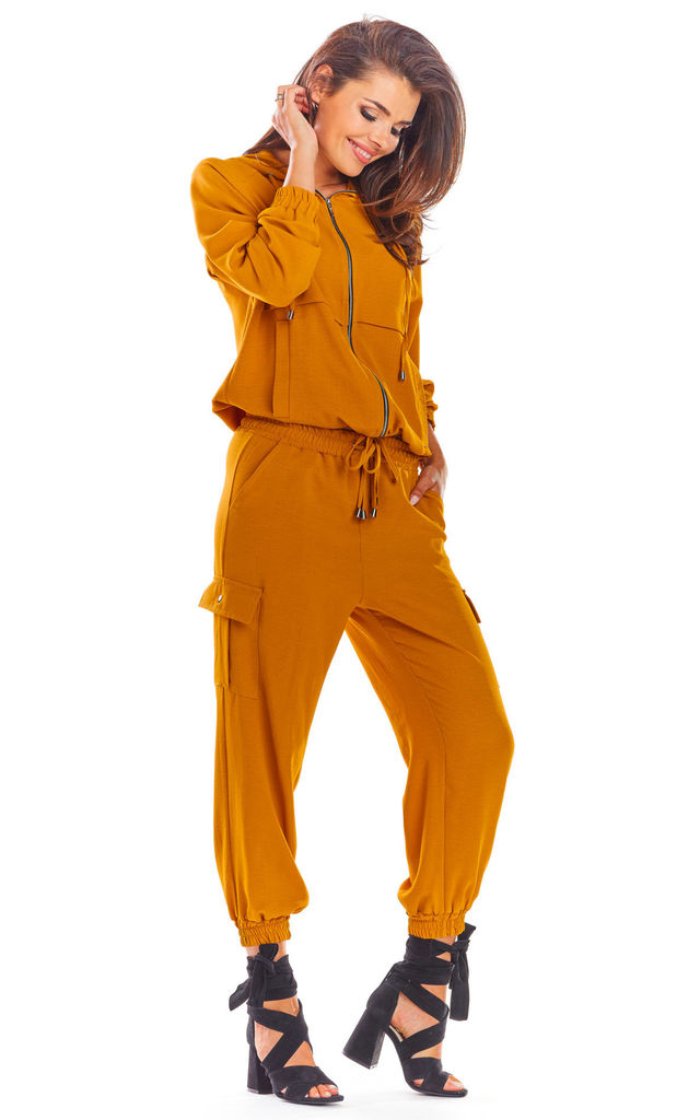 Oversized Hoodie with Zip in Caramel by AWAMA