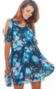 Short Sleeve Mini Dress in Blue Floral Print by AWAMA