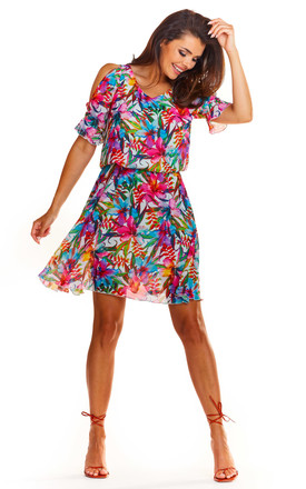 Short Sleeve Mini Dress in Pink Floral Print by AWAMA