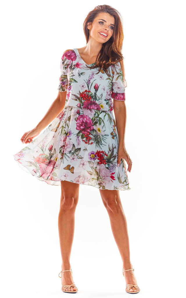 Short Sleeve Mini Dress in White Floral Print by AWAMA