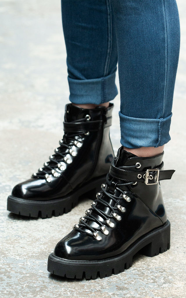 Sylian Lace Up Ankle Boots in Black Patent by SpyLoveBuy