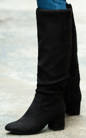 Kryptona Block Heel Knee High Boots In Black Faux Suede by SpyLoveBuy Product photo