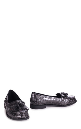 Rosemary Loafers in Grey Patent Croc by Linzi