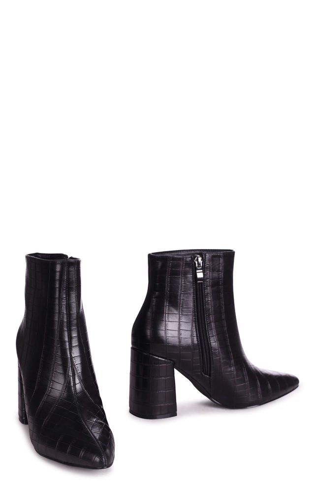 Alice Pointed Block Heel Boots in Black Croc Nappa by Linzi