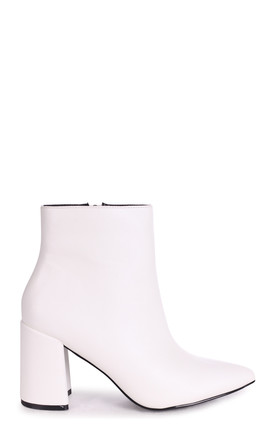 Alice Pointed Block Heel Boots in White Nappa by Linzi