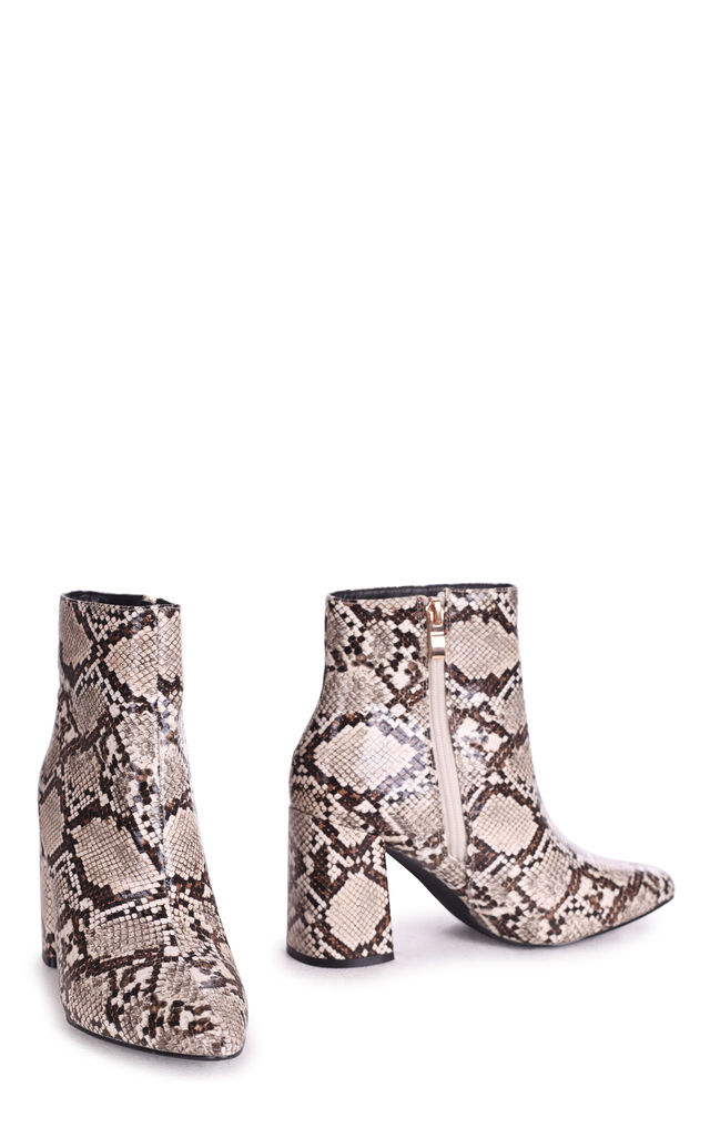 Alice Pointed Block Heel Boots in Natural Snake by Linzi