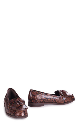 Rosemary Loafers in Brown Snake Print by Linzi