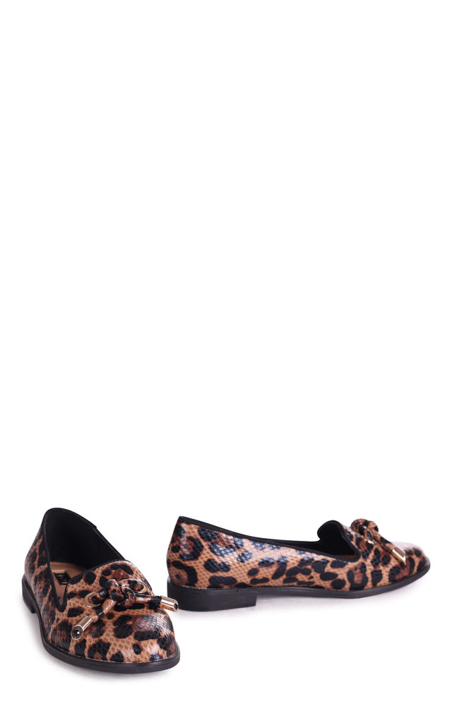 Clarice Patent Loafers in Leopard Print by Linzi