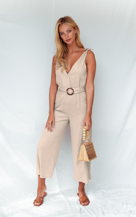 BLAIR NUDE TIE STRAP JUMPSUIT by Style Cheat