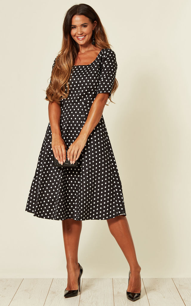 half price sale uk look out for Amber Midi Skater Dress In Black & White Polka Dot | Collectif ...