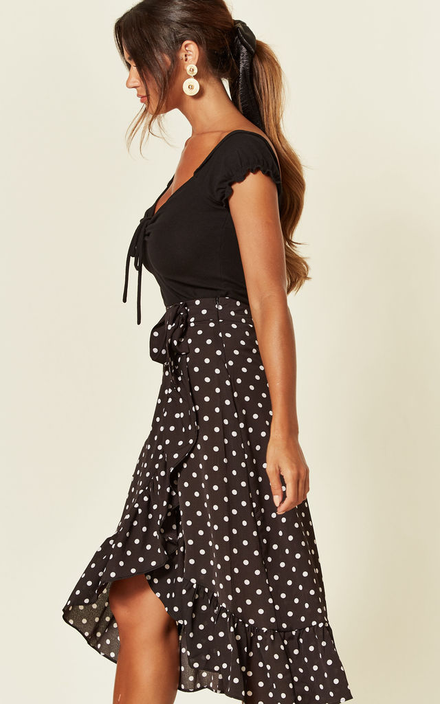 Frill Wrap Midi Skirt in Black Polka Dot by MISSI LONDON